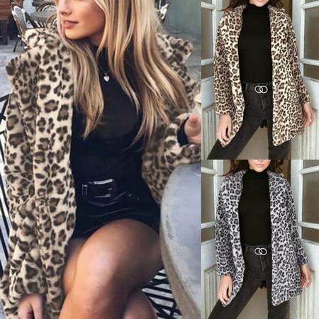 Plus Size Womens Winter Leopard Fleece Fur Fluffy Coat Jackets Jumper - Brown Fox Fur Coat