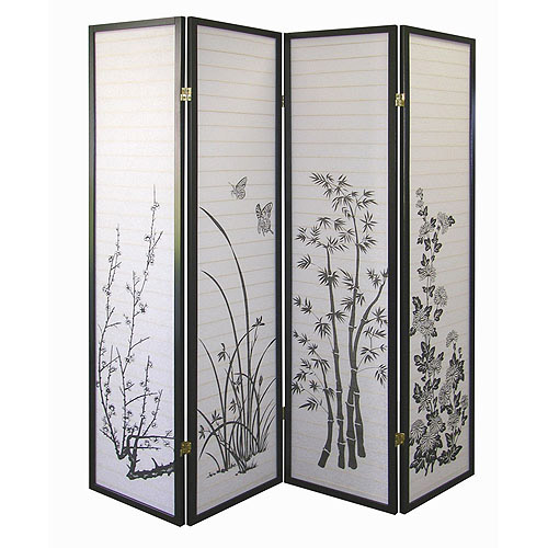 ORE International 4-Panel Room Divider, Floral