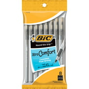 BIC Round Stic Grip Xtra Comfort Ball Pen, Medium Point (1.2 mm), Black, 8-Count