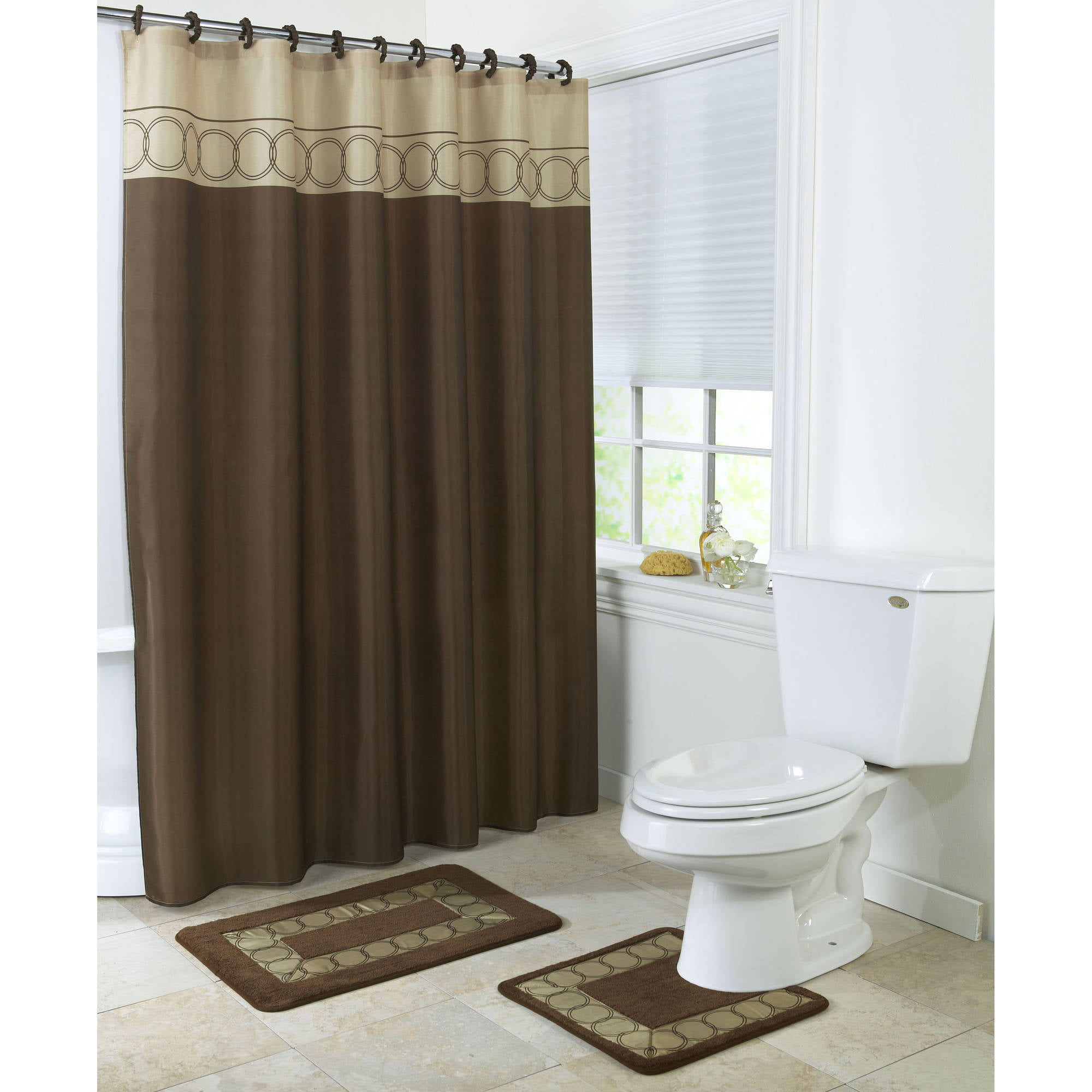 4 Piece Bathroom Rug Set 3 Piece Chocolate Ring Bath Rugs With Fabric Shower Curtain And Matching Mat Rings