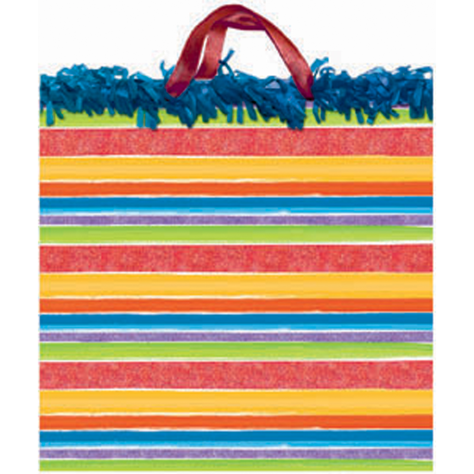 "Birthday Stripe Square Gift Bag, 15X15X8"" - 1 Pkg"