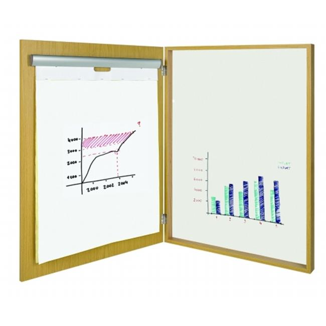 BVC CAB02020254 MasterVision 2-in-1 Magnetic Platinum Plus Dry Erase Conference Cabinet - Natural Wood