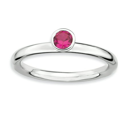 Sterling Silver Stackable Expressions High 4mm Round Created Ruby Ring Size 9 - image 2 of 3
