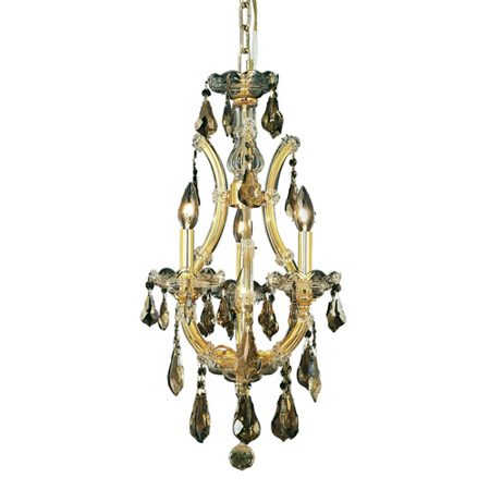 - Pendants Porch 4 Light With Golden Teak (Smoky) Crystal Royal Cut Gold size 12 in 240 Watts - World of Classic