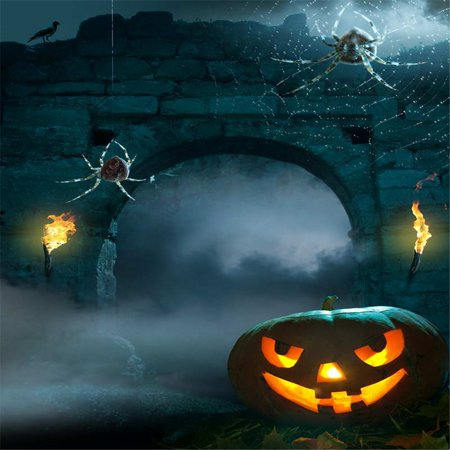 GreenDecor Polyster Halloween Photo Background Backdrop 5x7ft Broken Bridge Orange Pumpkin Photography Backdrop for Halloween Party](Orange Halloween Background)