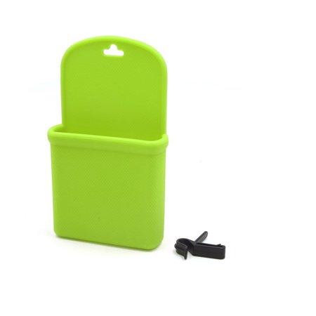 Green Silicone Rhombus Texture Car Air Vent Phone Holder Storage Pocket w Hook