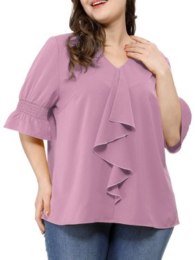 Women's Plus Size Ruffle Loose V Neck Smocked Sleeves Top