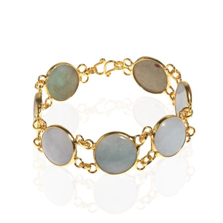 - Circle Orbits Natural Burmese Jade Link Gold Vermeil Brass Bracelets