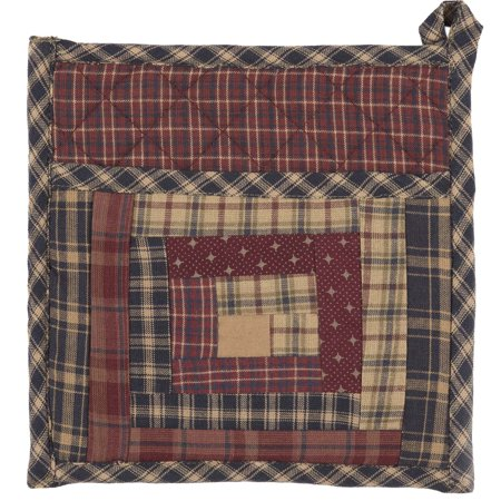Burgundy Red Rustic & Lodge Tabletop Kitchen Clamont Fabric Loop Cotton Patchwork Pocket Pot Holder