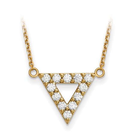 Diamond Triangle Necklace - Solid 14k Yellow Gold AA Quality Diamond 3mm Triangle Necklace Chain 18
