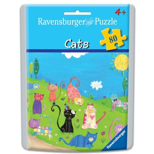 Cats Puzzle in an Easy-Seal Pouch, 80-Piece Multi-Colored