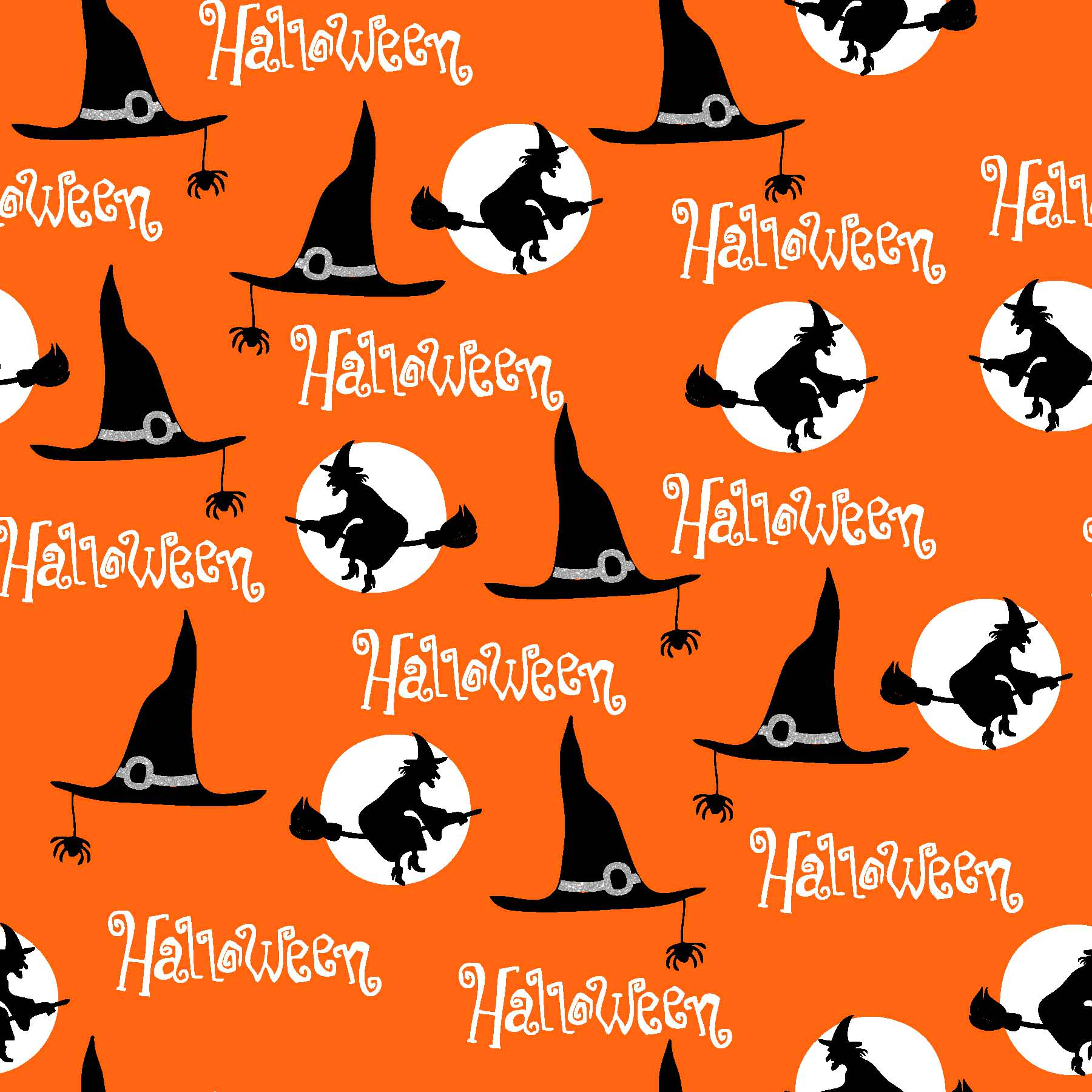 FABRIC EDITIONS, COTTON FABRIC, FAT QUARTER 18X21, METALLIC, HALLOWEEN WITCHES