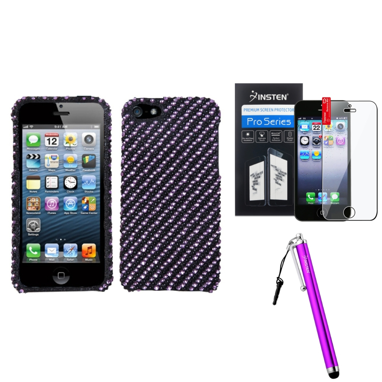 Insten Stripe Purple/Black Diamante Case For iPhone 5 / 5s + Film + Stylus Pen
