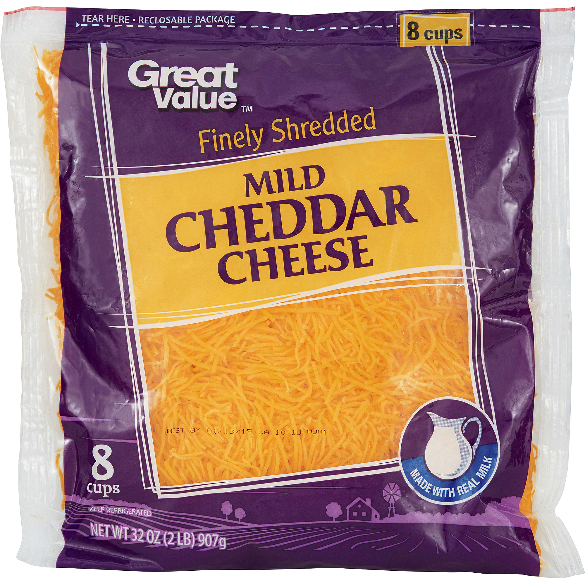 Great Value Mild Cheddar Finely Shredded Cheese, 32 oz
