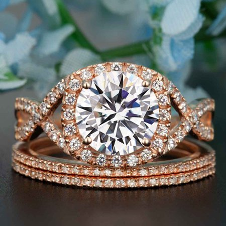 2 Carat Round Cut Moissanite and Diamond Trio Wedding Ring Set in 18k Rose Gold Over Silver Stunning Ring