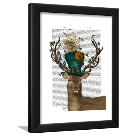 Mad Hatter Deer Framed Print Wall Art By Fab Funky (Black And White Mad Hatter)