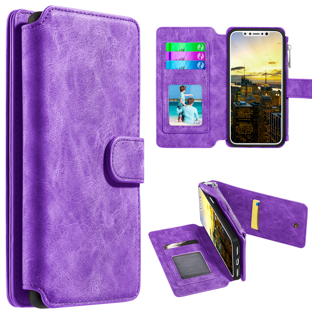 iPhone X Case, Trendy Leather Flip Wallet Detachable Back Cover and Card Slot - Purple for iPhone X, Bright Colors, Protective Case, Flap Magnet Function