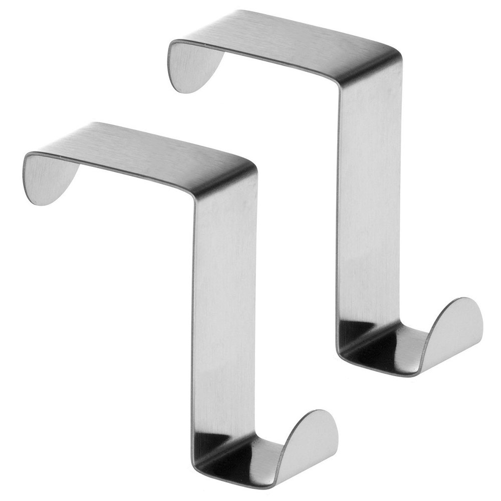 2 Pack Door Hooks Stainless Steel, Reversible Over Door Cabinet Drawer  Towel Coat Hooks