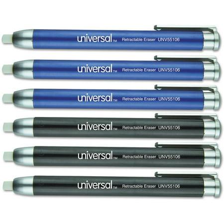 Retractable Eraser (Universal Pen-Style Retractable Eraser, Blue;black, 6/pack )
