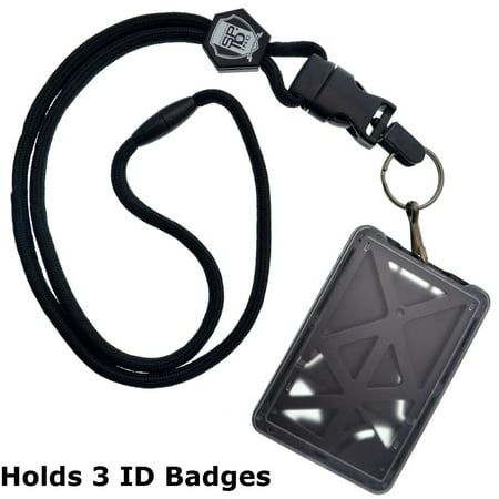 Top Loading THREE ID Card Badge Holder with Heavy Duty Lanyard w/ Detachable Metal Clip and Key Ring by Specialist ID, Sold Individually (One Holder / 3 Cards Inside) - Lanyard With Badge Holder