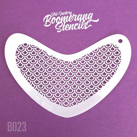 Art Factory Boomerang Stencil - Peacock Scale, Reusable Face Painting Stencil, Great for Fairs, Carnivals, Party and Halloween - Halloween Painting Ideas Faces