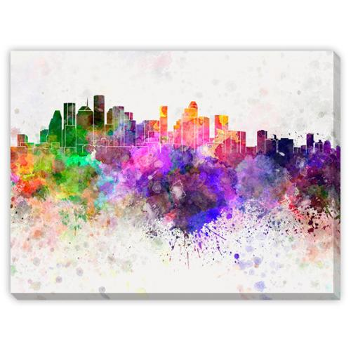 Gallery Direct Paul Rommer's 'Houston Skyline in Watercolor' Canvas Gallery Wrap Art Medium