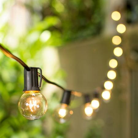 Patio Bistro Lights Globe String Lights 1 5 Inch E17 Bulbs 100 Foot Bla