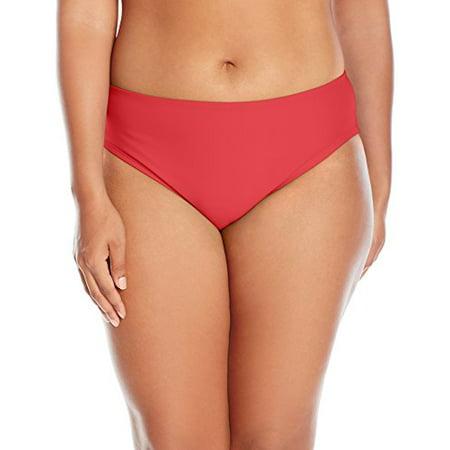 adidas Women's Plus Size Solid Hipster Bikini Bottom, Coral, (Adidas Bikini)