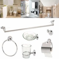 6 pcs Chrome Toilet Bathroom Accessory Roll Holder Towel Hook Glass Tumbler Soap Dish Robe Hook Towel Ring Set