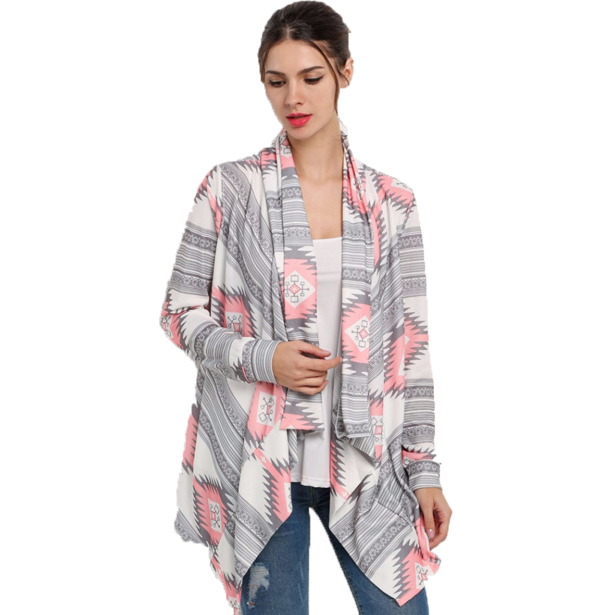 Soft & Asymmetrical Long sleeve Kimono Knitted Cardigans for Women, Pink/Green Thin Sweater Blouse for Ladies, Single Layer Printed Fabric Cover-up Kimono Cardigan Tops