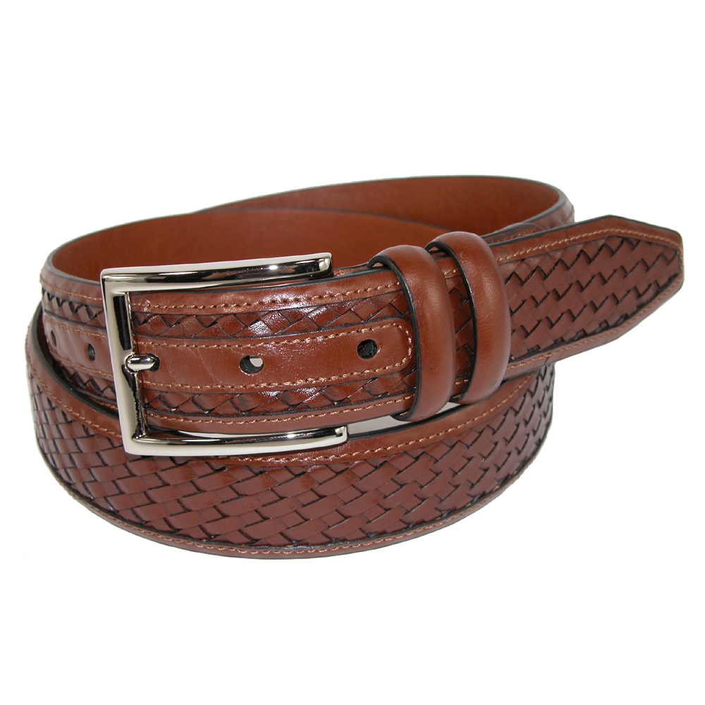 Johnston & Murphy Size 36 Mens Leather Feather Edge 1 3/8 Inch Woven Belt, Tan