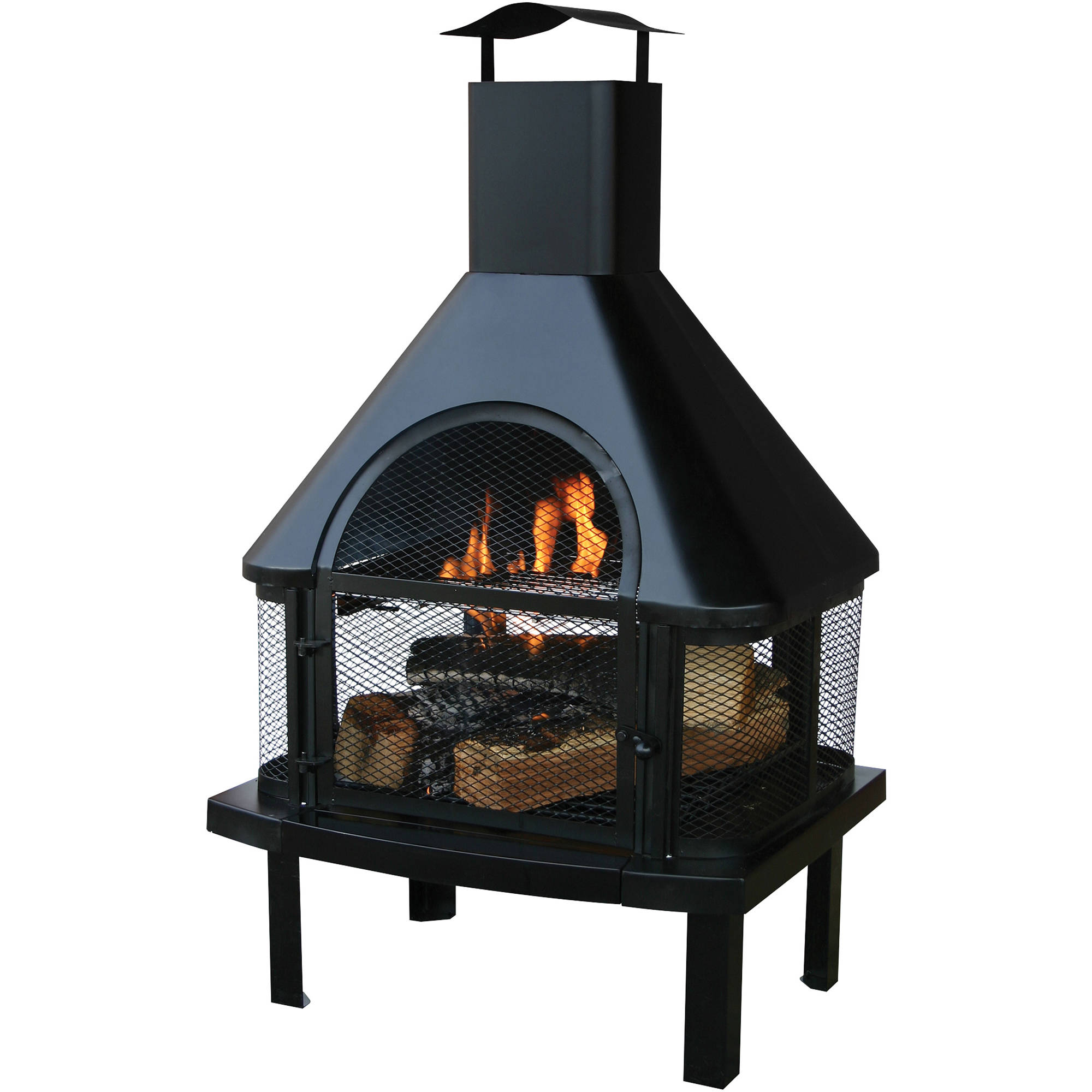 Uniflame Outdoor Wood Burning Fire Place, Black