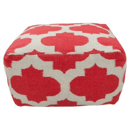Surya 24 in. Morocco Square Wool Pouf