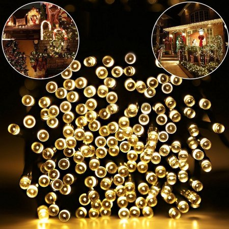 Ex Outdoor Lights - Outdoor String Lights, 40ft 100 LED Waterproof Solar Decoration Lighting for Indoor/Outdoor, Patio, Lawn, Garden, and Holiday Festivals (100 LED warm white)