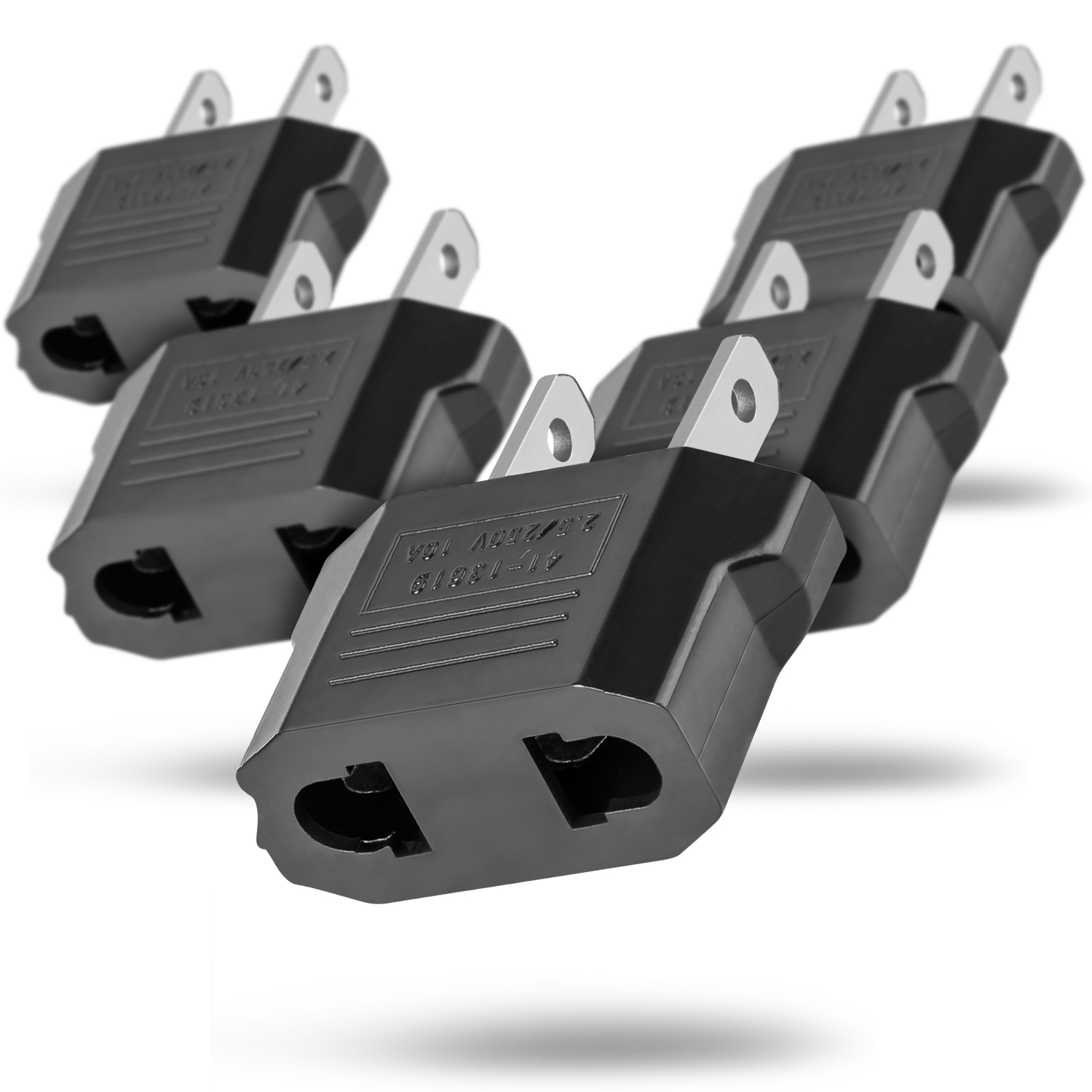 European Adapter 5 Pack, Fosmon Type C EU to USA & Canada Travel Adapter Plug, 2 Prong Universal Power Converter - Black