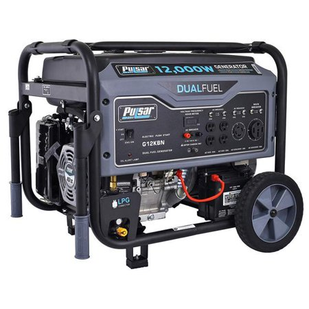 Pulsar 12,000W Dual Fuel Portable Generator in Space Gray with Electric Start,