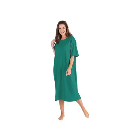 Catalog Classics Women's Long Henley Nightshirts - Set of 2 Comfortable Pajama Sleep Shirts - Green/Burgundy -