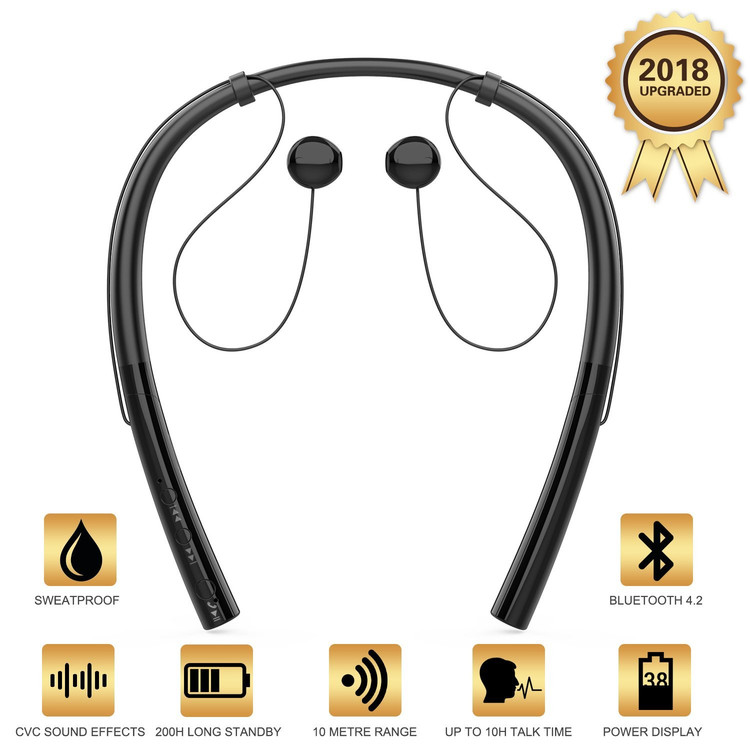 Black Friday Clearance!!Bluetooth Headphones Retractable Earbuds Neckband Wireless Headset Sport Sweatproof Earphones with Mic (Bluetooth 4.1,Noise Cancelling) (Matte Black)