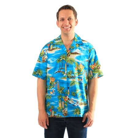 Made in Hawaii Men's Hawaiian Shirt Aloha Shirt in Palms Surfers Bird of Paradise in Turquoise Blue 2XL (Surfers Parade)