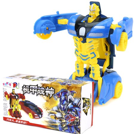 Mini Cartoon Deformation Car Inertial Transformation Robots Toys for Children Style:blue - image 3 of 6