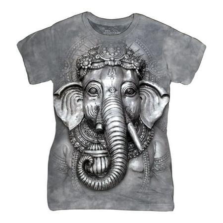 The Mountain Grey Cotton Big Face Ganesh Design Novelty Womens T Shirt New