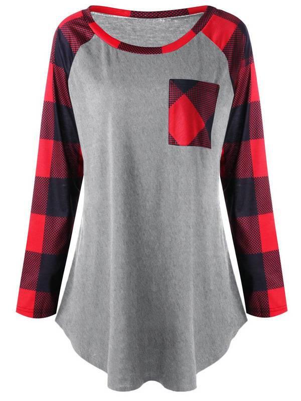 AKFashion Women's Plus Size Plaid Long Sleeve Round Neck Irregular Blouse Shirts Tops