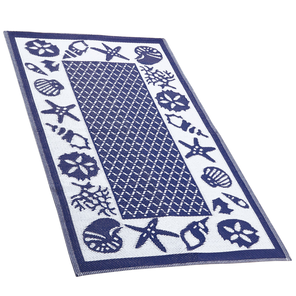 Seashell Blue Reversible Outdoor Patio & RV Rug Mat
