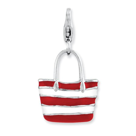 - Solid 925 Sterling Silver Enameled 3-D Stripe Tote bag with Lobster Clasp Pendant Charm (14mm x 29mm)