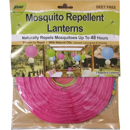 PIC Mosquito Repellent Paper Lanterns with Hanging Medallian, Assorted Colors, 3 Ct
