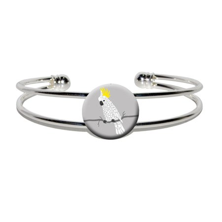 Parrot Silver Plated (Cockatoo - Bird Parrot Pet Silver Plated Metal Cuff Bracelet)
