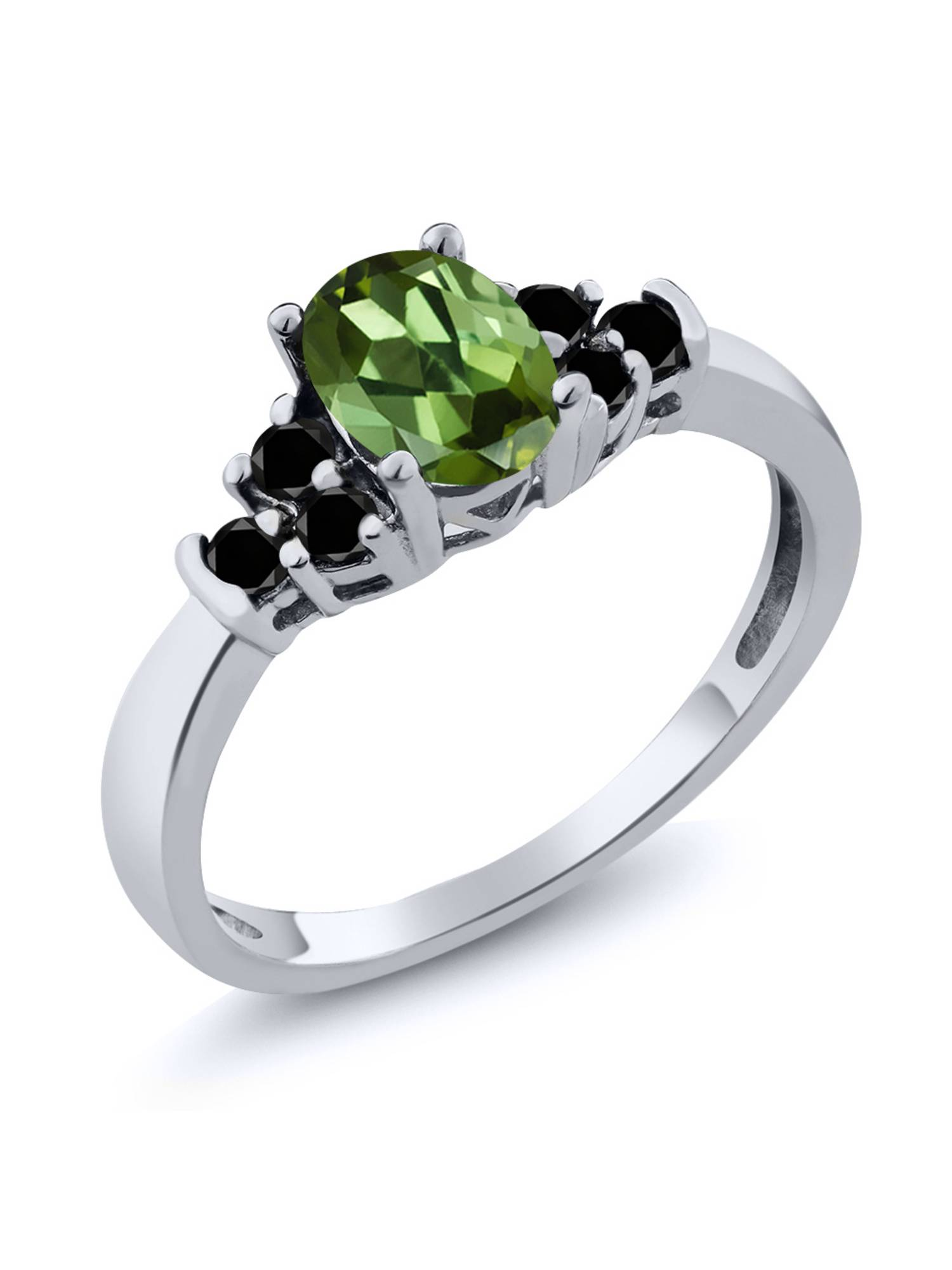 0.60 Ct Oval Green Tourmaline Black Diamond 925 Sterling Silver Ring by