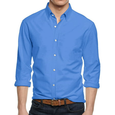 Men's Premium Dress Shirts Slim Fit Long Sleeve Blue Striped Cotton Dress Shirt