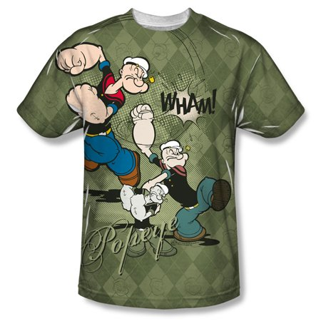 Popeye T-shirt Tee - Popeye Men's  Argyle Punch Sublimation T-shirt White