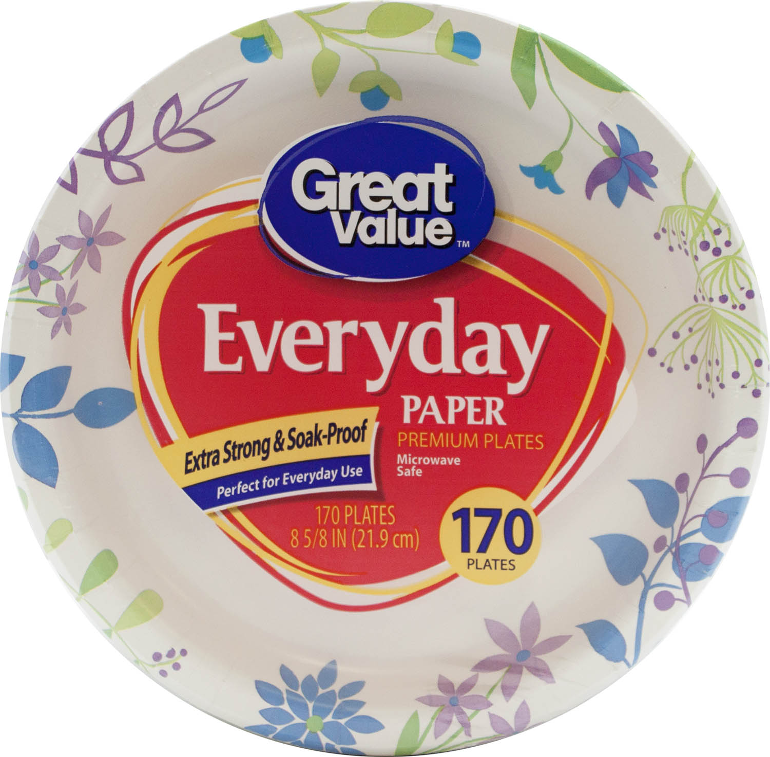 "Great Value Everyday Premium Paper Plates, 8 5/8"", 170 Count"